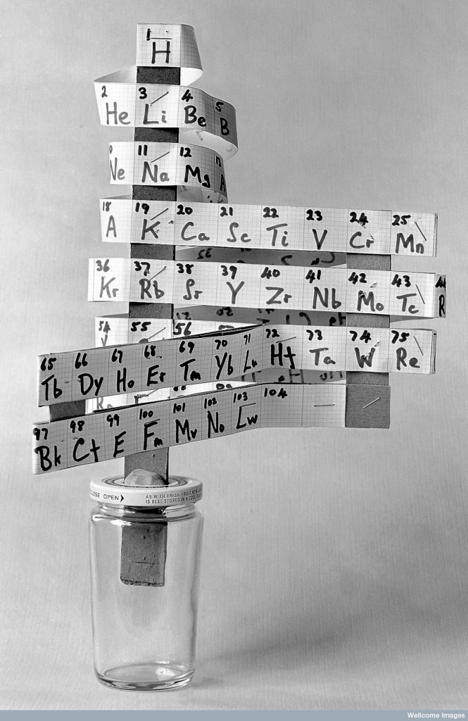 L0002952 Model showing Periodic Elements of Chemistry Credit: Wellcome Library, London. Wellcome Images images@wellcome.ac.uk http://wellcomeimages.org Model showing Periodic Elements of Chemistry. From a model prepared at the Royal Institute of Chemistry Published:  -  Copyrighted work available under Creative Commons by-nc 2.0 UK, see http://wellcomeimages.org/indexplus/page/Prices.html