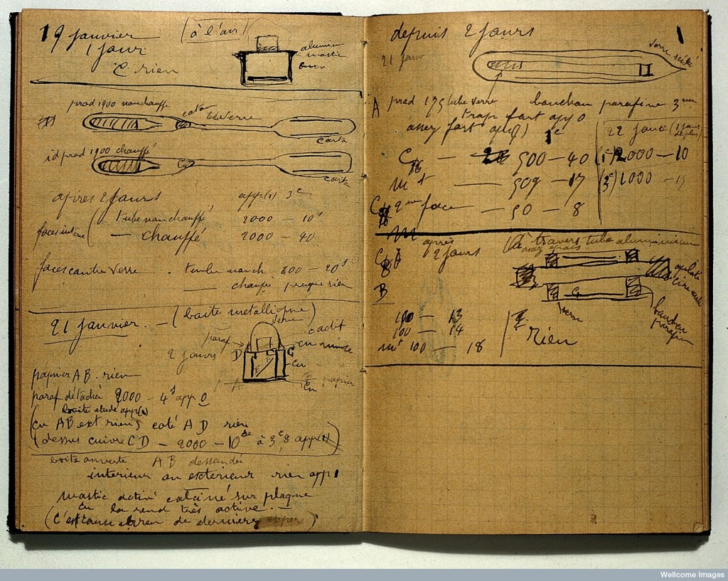 redit: Wellcome Library, London. Wellcome Images images@wellcome.ac.uk http://wellcomeimages.org Page from notebook. 27 May 1899 - 4 December 1902 Holograph note-book containing notes of experiments, etc. on radio-active substances. Marie Curie Published:  -  Copyrighted work available under Creative Commons by-nc 2.0 UK, see http://wellcomeimages.org/indexplus/page/Prices.html