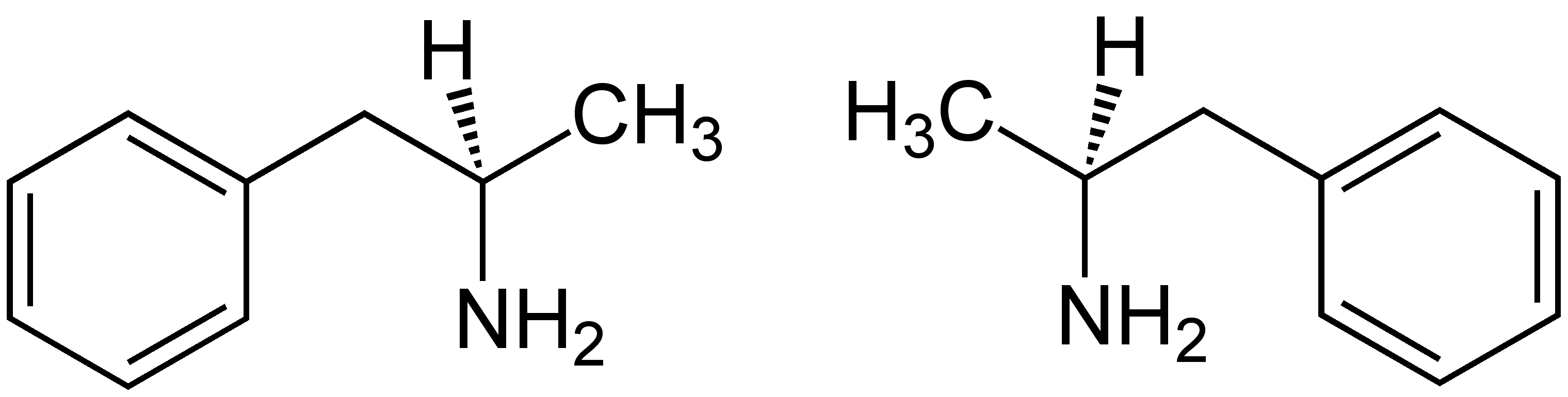 Dextroamphetamine (left) and levoamphetamine. Note that Dextroamphetamine is actually the S enantiomer, but is named for the direction in which it rotates polarized light.